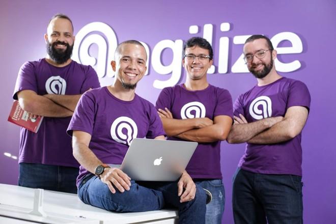 Os fundadores da Agilize : Thiago Colares, Marlon Freitas, Rafael Caribé e Rafael Viana . A startup está no Launchpad Accelerator, programa de aceleração em  machine learning do Google. | Divulgação/