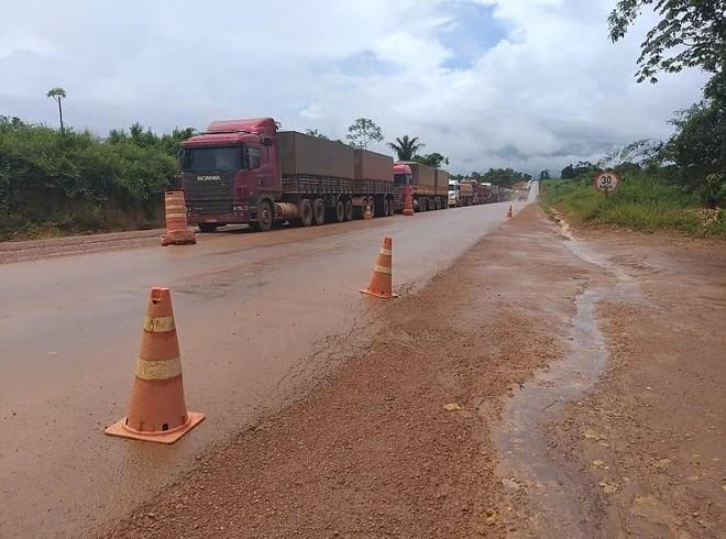Falta pavimentar 49 km para concluir o corredor de exportação de grãos entre regiões produtivas de grãos no Mato Grosso e os portos de Miritituba, no Pará | DNIT/Divulgação