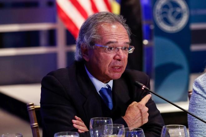 O ministro da Economia,Paulo Guedes, durante o Brazilian Day, evento a empresários e investidores na visita do governo a Washington. | Alan Santos/PR