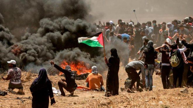 Manifestações lideradas pelo Hamas em 2018 contra a instalação da embaixada americana em Jerusalém causaram mais de 50 mortes. Foto: AFP