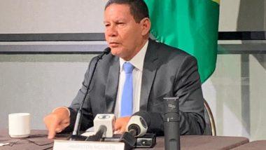 Hamilton Mourão em entrevista coletiva na Brazil Conference, em Boston (EUA)