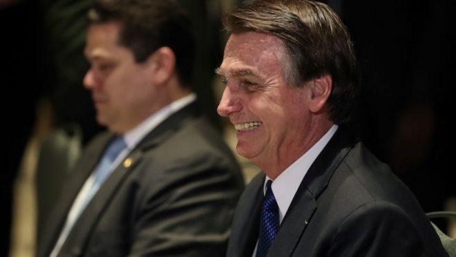 O presidente Jair Bolsonaro durante almoço de Encontro do Conselho Interdenominacional de Ministros Evangélicos do Brasil.