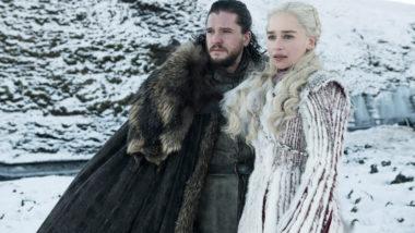"""Kit Harington, à esquerda, como Jon Snow e Emilia Clarke como Daenerys Targaryen na 8ª temporada de """"Game of Thrones"""". (Imagem: Helen Sloane, HBO)"""