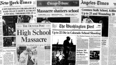 Primeiras páginas de jornais americanos do dia 21 de abril de 1999. Imagem: The Washington Post