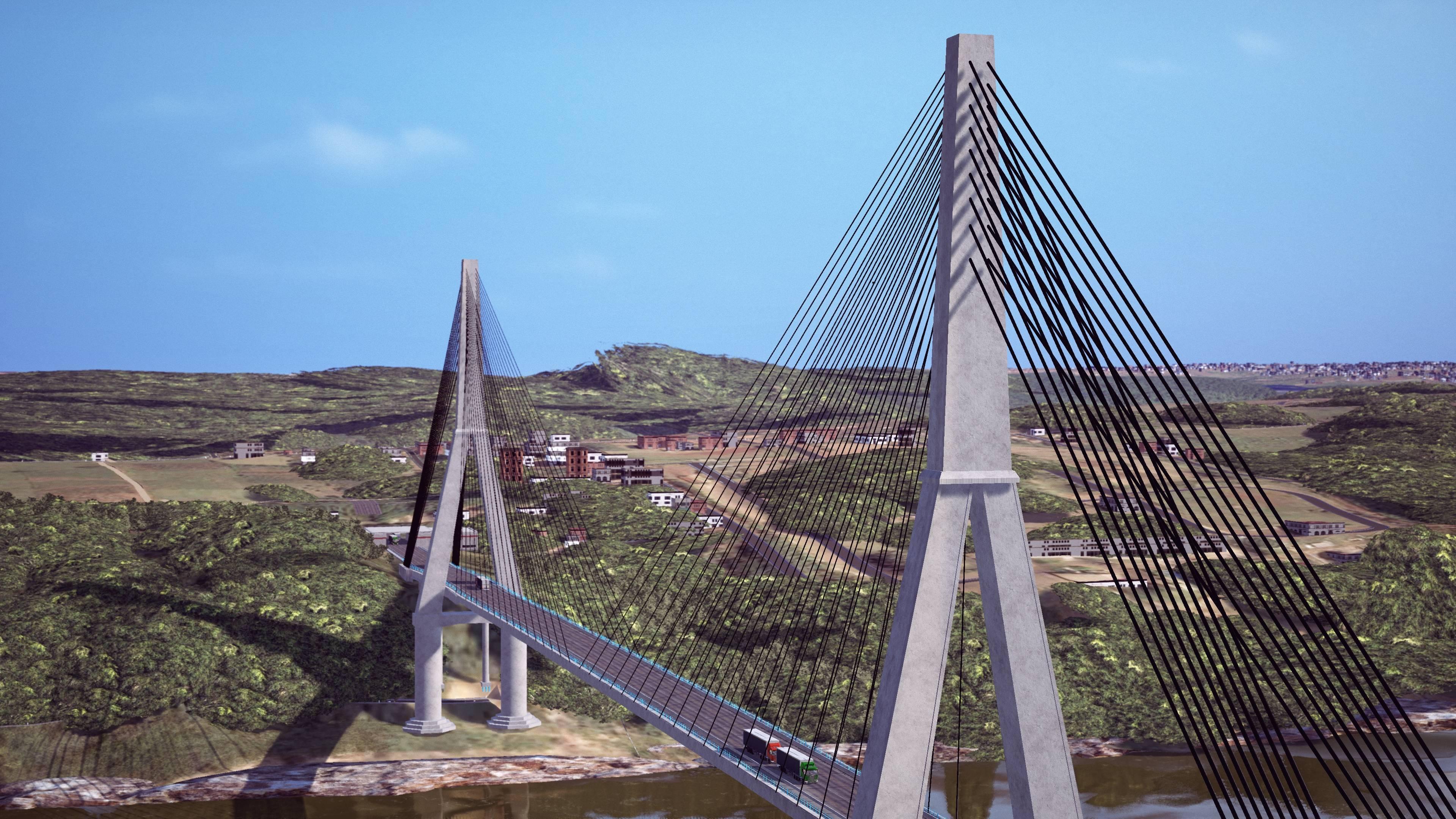 O projeto da segunda ponte visto de outro ângulo. Foto: Divulgação/Itaipu Binacional
