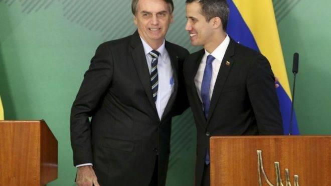 Bolsonaro recebeu Juan Guaidó no Palácio do Planalto em fevereiro | Foto: Agência Brasil