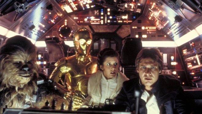 Cena de Star Wars mostra Chewbacca, C-3PO, a Princesa Leia e Han Solo (Foto: Divulgação/ LucasFilm)