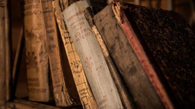 Livros em uma estante.