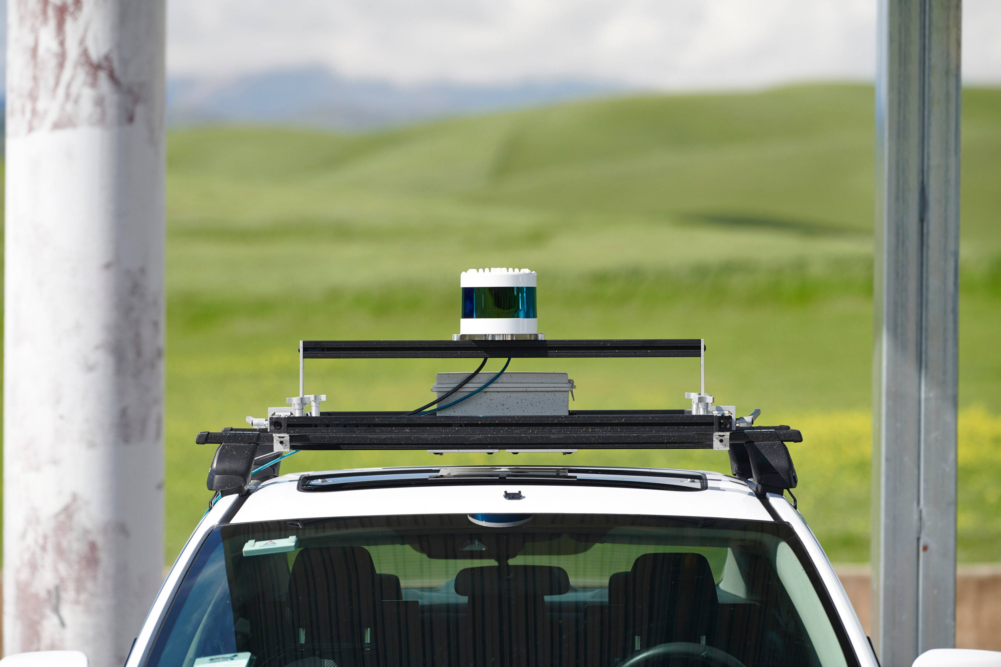 <br />Detalhe da equipe Velodyne Lidar, durante a Self Racing Cars, um evento anual de pista aberta para veículos autônomos, na Califórnia.
