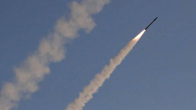 Missil disparado por Israel contra foguete palestino