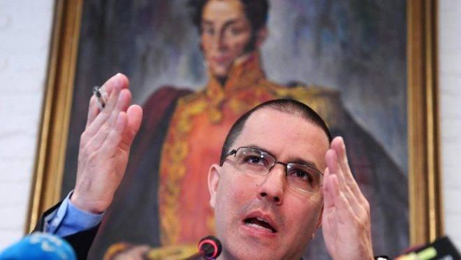O ministro das Relações Exteriores da Venezuela, Jorge Arreaza, em coletiva de imprensa em Moscou, Rússia, 6 de maio