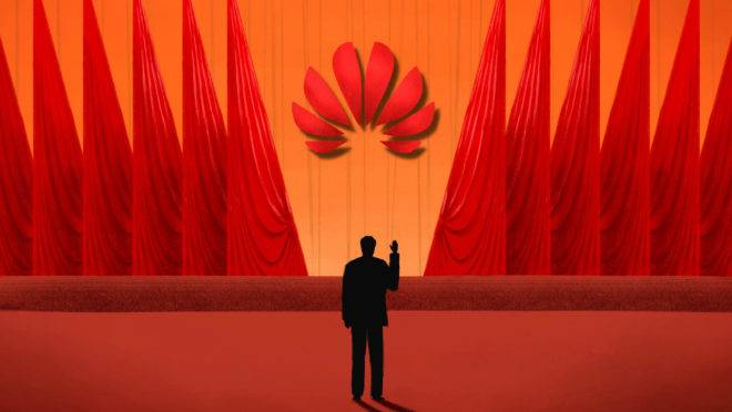 Ilustração sobre a empresa de telecomunicações chinesa Huawei.