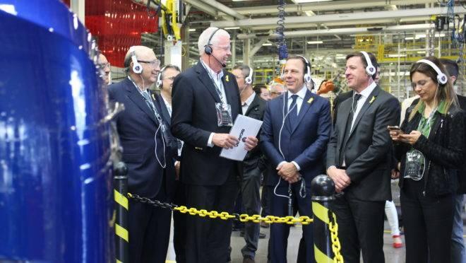 Governador João Dória (PSDB-SP) em visita à fábrica da Scania em São Bernardo do Campo.