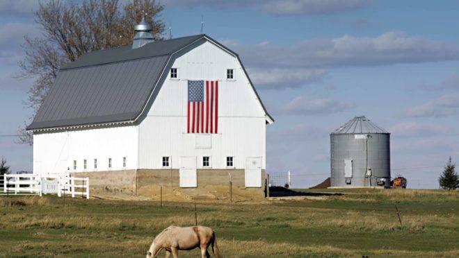 Foto mostra barracão típico de armazenagem dos EUA, de cor branca e com telhado em forma de metade de um losango. Na parede frontal uma bandeira americana. Ao lado do barracão, um silo. No primeiro plano, um cavalo pasta em relva verde.