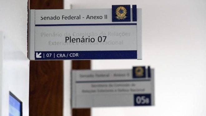 Placa aponta entrada do plenário do Senado federal, em Brasília. Foto: Waldemir Barreto/Agência Senado