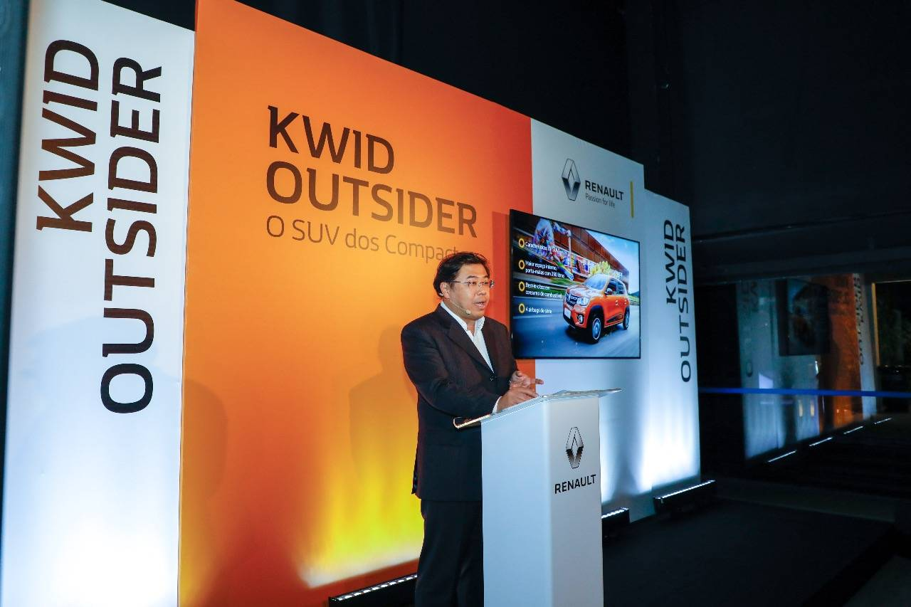 <br /> Ricardo Gondo, presidente da Renault do Brasil, durante a apresentação do Kwid Outsider. Foto: Rodolfo Buhrer/ Divulgação Renault