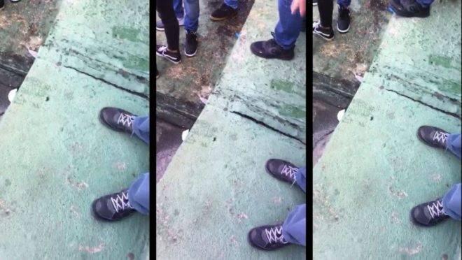 Reprodução de vídeo que mostra fissura no concreto do Couto Pereira.