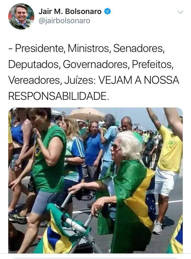 Foto postada como se fosse da passeata de 26/05/2019 mostra idosa morta em 11/2018