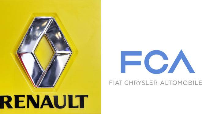 Logos da Renault e da FCA, que discutem fusão