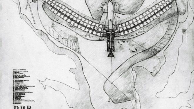 Projeto do Plano Piloto elaborado por Lucio Costa (Arquivo Público do DF)