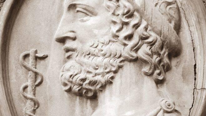 Asclépio, deus da cura dos gregos, e o bastão envolvido pela serpente, símbolo da Medicina. Foto: Bigstock