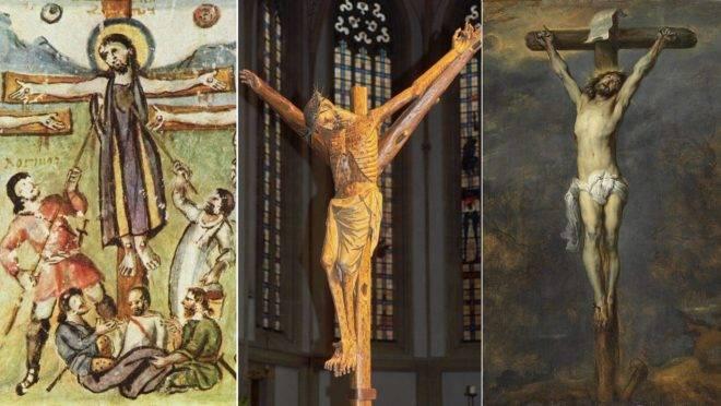 """A crucifixão no Evangeliário de Rabbula, de 586, tem um Jesus vestido; o Crucifixo Bocholt, do início do século 14, tem feridas semelhantes às da peste; na """"Crucifixão"""" de Van Dyck (1622) os cravos estão mais próximos dos pulsos: estilos refletem conhecimento da época. (Imagens: Reprodução / Watzmann/Wikimedia Commons / Reprodução)"""