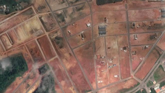 Imagem de satélite de área de loteamento