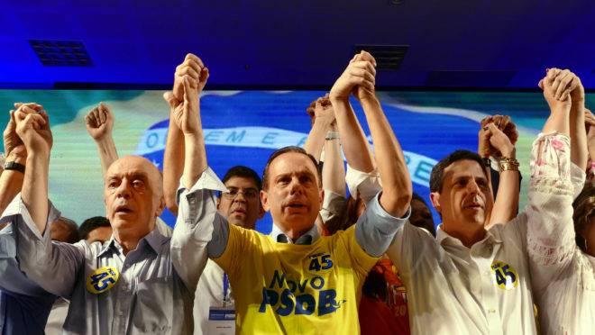 José Serra, João Doria e Bruno Araújo em convenção nacional do PSDB, em Brasília. Foto: Orlando Brito/PSDB