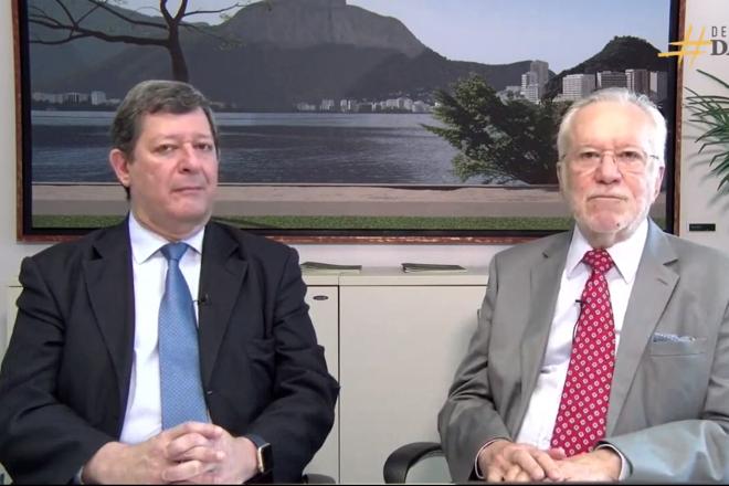 Edson Vismona, presidente do Etco, e Alexandre Garcia, jornalista e colunista da Gazeta do Povo, debateram sobre contrabando, crime organizado e reforma tributária. | Reprodução/YouTube