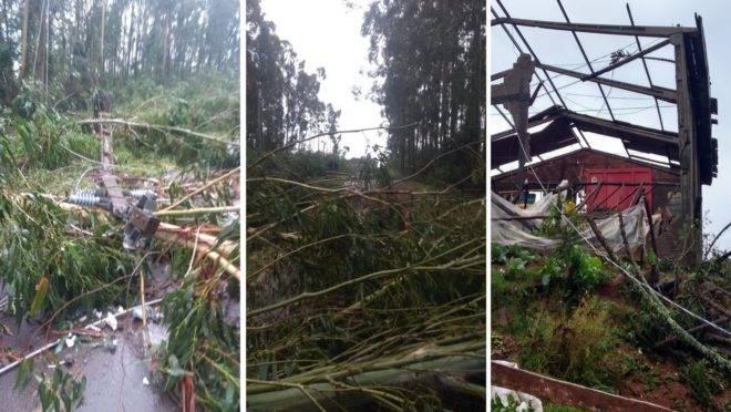 Destruição na região de Santa Maria do Oeste: registro de tornado com 117 km/h. Foto: Reprodução Simepar