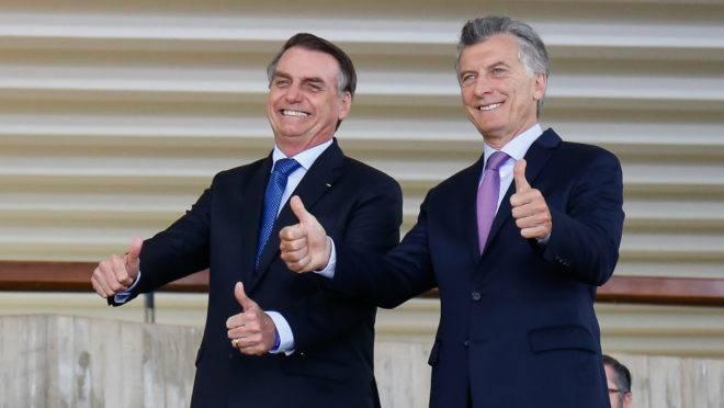 Jair Bolsonaro e Mauricio Macri durante encontro em Brasília, em janeiro de 2019