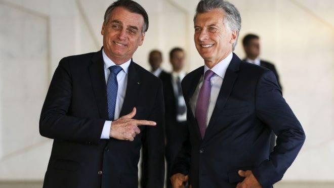 O presidente brasileiro Jair Bolsonaro e o presidente da Argentina, Mauricio Macri, em visita ao Brasil no início de 2019.