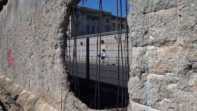O Muro de Berlim é uma representação do poder coercivo do Estado ao qual os anarcocapitalistas se opõem.