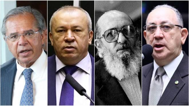 Da esquerda para a direita: o ministro Paulo Guedes, o deputado homônimo, o educador Paulo Freire e seu xará na Câmara.