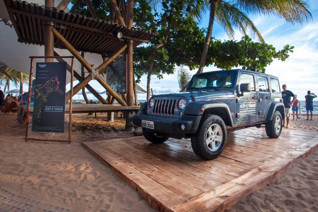 O Jeep Wrangler que roda em Noronha no Projeto Tamar é movido por motor a diesel e terá de abandonar a ilha no futuro. Foto: Jeep/ Divulgação