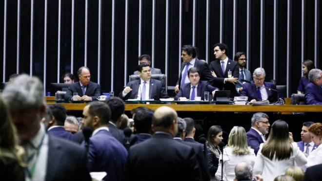 Sessão do Congresso Nacional que derrubou vetos de Bolsonaro.