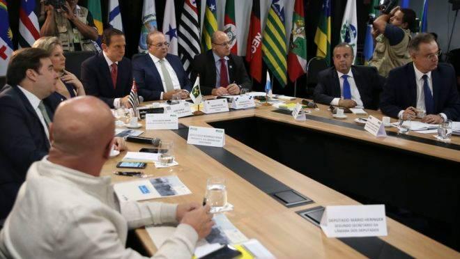 Os governadores, de São Paulo, João Doria, do Distrito Federal, Ibanez Rocha e do Rio de Janeiro, Wilson Witzel, participam da 5.ª Reunião do Fórum de Governadores.