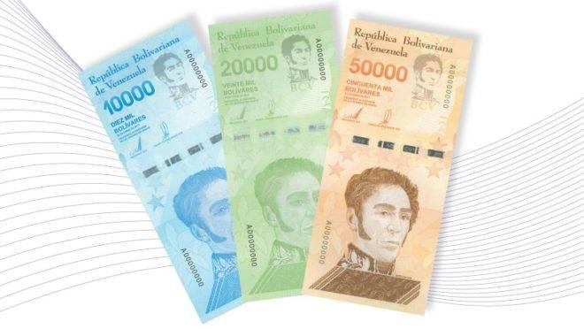 As novas cédulas anunciadas pelo Banco Central da Venezuela, de 10 mil, 20 mil e 50 mil bolívares