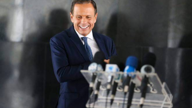 O governador de São Paulo João Doria durante coletiva de imprensa.