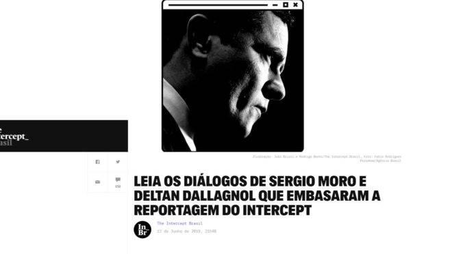 Página de apresentação da reportagem do site The Intercept sobre as mensagens de Dallagnol e Moro.