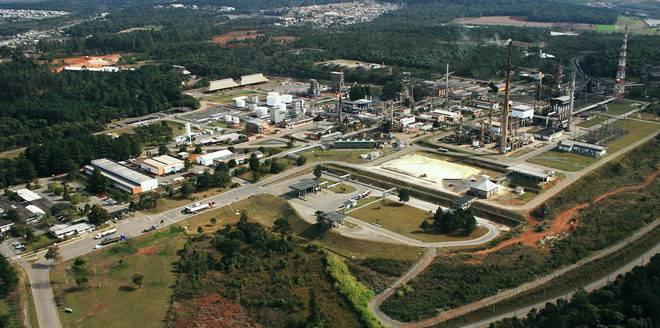 Vista aérea da Unidade do Xisto, da Petrobras, em São Mateus do Sul.