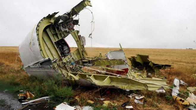 Foto de arquivo tirada em 09 de setembro de 2014 mostra parte da aeronave do voo MH17 da Malaysia Airlines após a queda