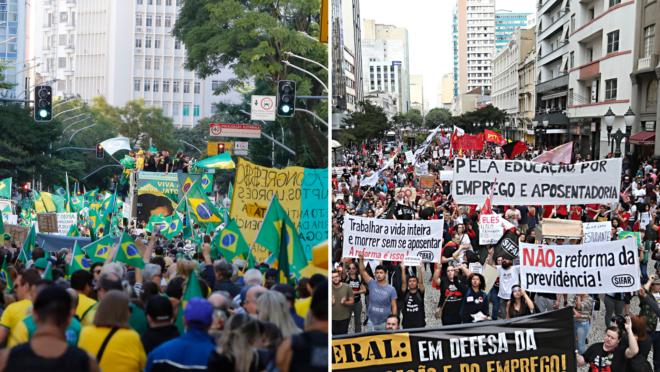 Fotomontagem com protestos de rua de 2019.