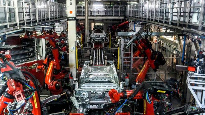Fábrica de carros elétricos da Tesla, em Fremont, Califórnia, nos EUA.