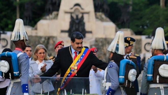 O ditador da Venezuela, Nicolás Maduro, em cerimônia em comemoração à batalha de Carabobo em Valencia, 24 de junho