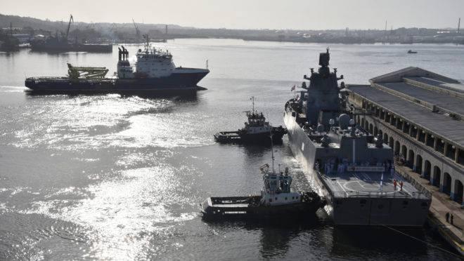Fragata almirante Gorshkov, da Marinha da Federação Russa, está ancorada no porto de Havana em 24 de junho de 2019.