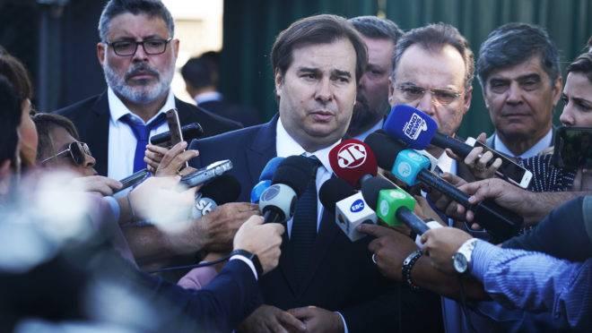 Os deputados Alexandre Frota, Rodrigo Maia e Samuel Moreira