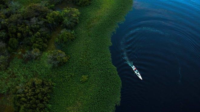 Vista aérea de trecho da reserva de Mamirauá, na Amazônia brasileira.