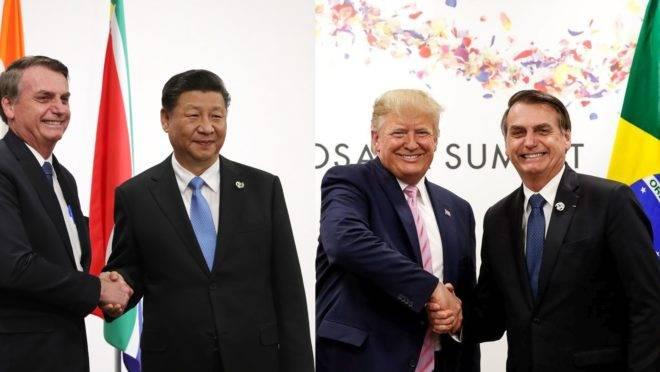 Montagem a partir de fotos do presidente Bolsonaro com os chefes da China, Xi Jinping, e dos EUA, Donald Trump.