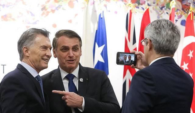 Presidente da República, Jair Bolsonaro, com Mauricio Macri, presidente da Argentina, no G-20.
